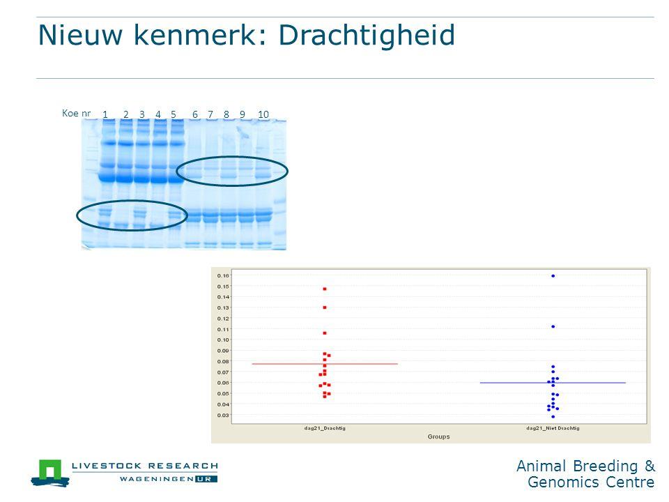 Animal Breeding & Genomics Centre Nieuw kenmerk: Drachtigheid 12345678910 Koe nr