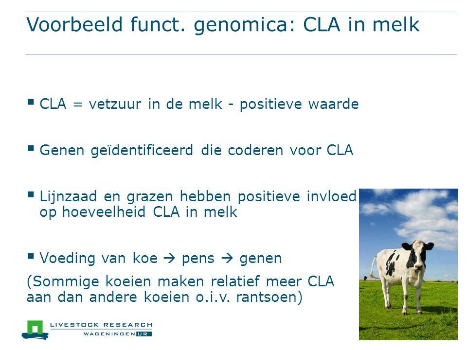 Voorbeeld funct. genomica: CLA in melk  CLA = vetzuur in de melk - positieve waarde  Genen geïdentificeerd die coderen voor CLA  Lijnzaad en grazen