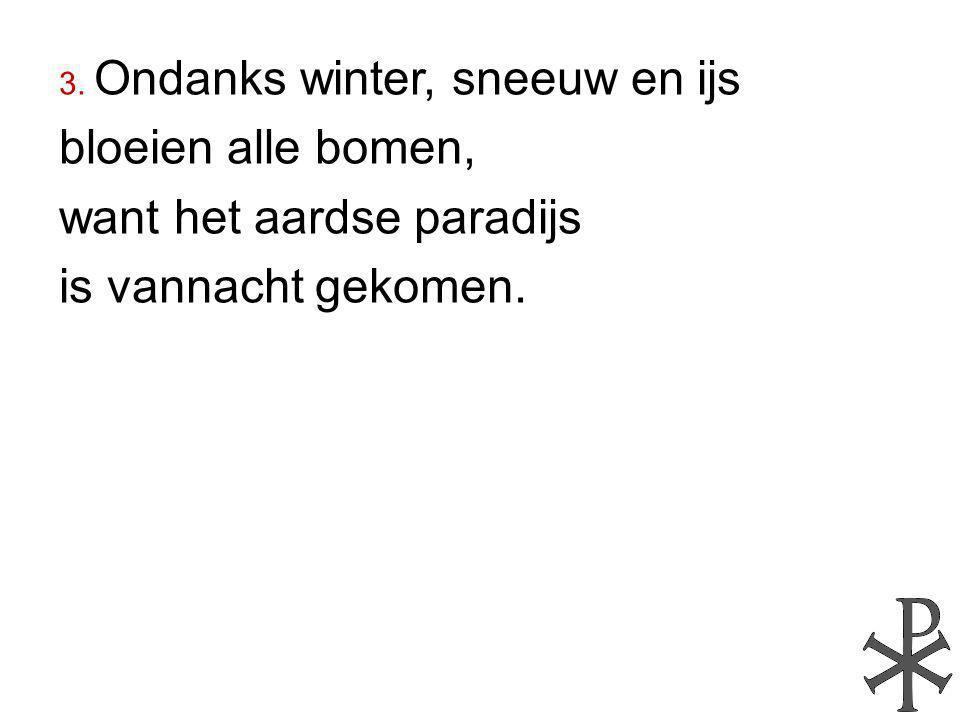 3. Ondanks winter, sneeuw en ijs bloeien alle bomen, want het aardse paradijs is vannacht gekomen.