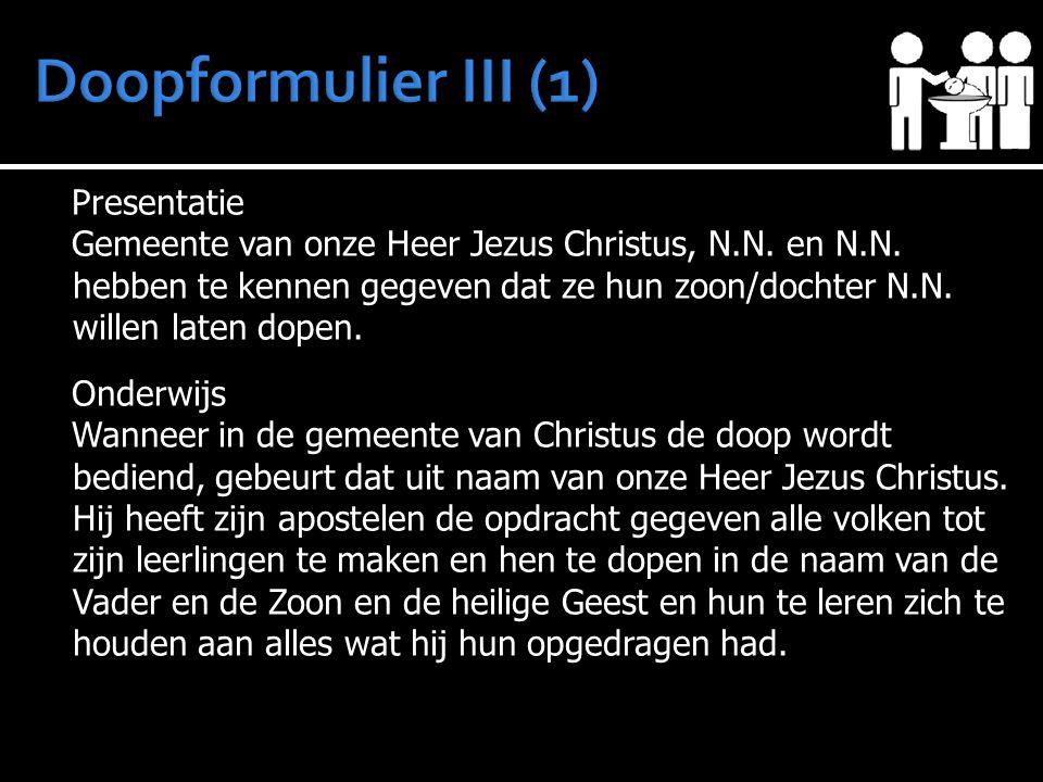 Presentatie Gemeente van onze Heer Jezus Christus, N.N.