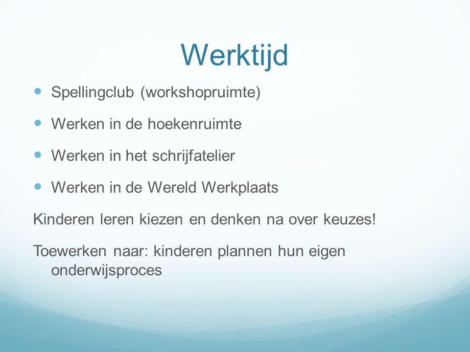 Werktijd  Spellingclub (workshopruimte)  Werken in de hoekenruimte  Werken in het schrijfatelier  Werken in de Wereld Werkplaats Kinderen leren ki