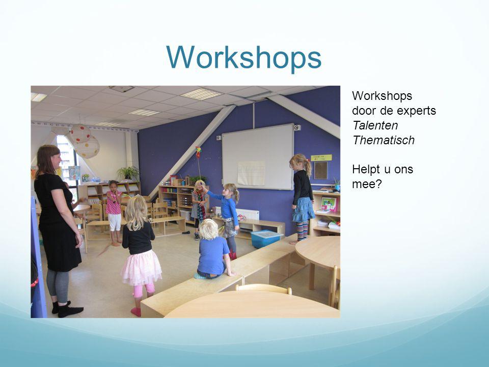 Workshops Workshops door de experts Talenten Thematisch Helpt u ons mee?