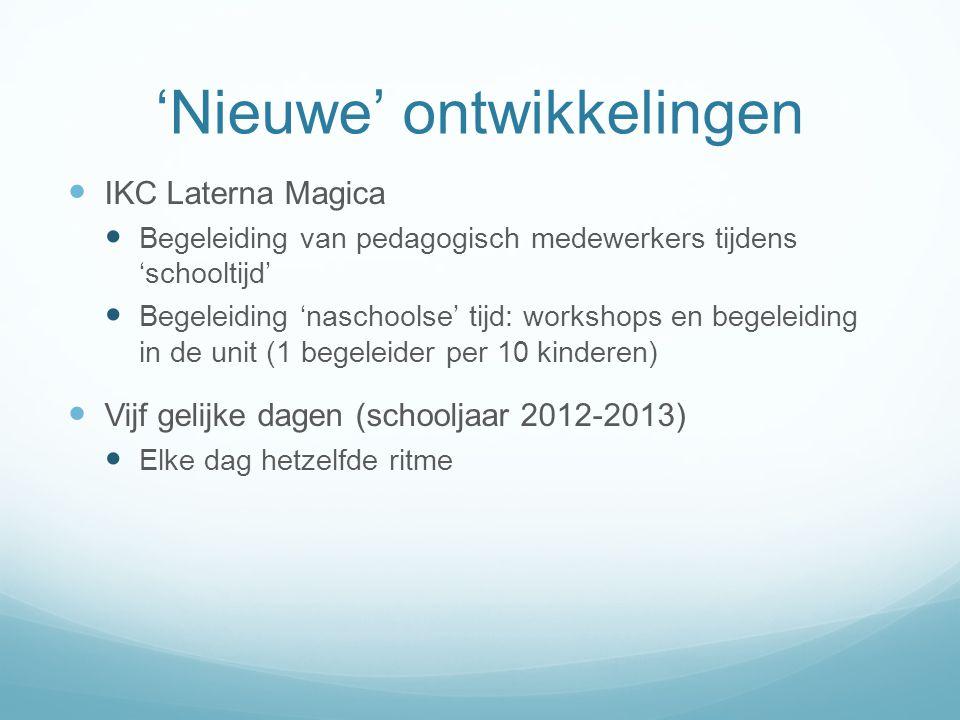'Nieuwe' ontwikkelingen  IKC Laterna Magica  Begeleiding van pedagogisch medewerkers tijdens 'schooltijd'  Begeleiding 'naschoolse' tijd: workshops
