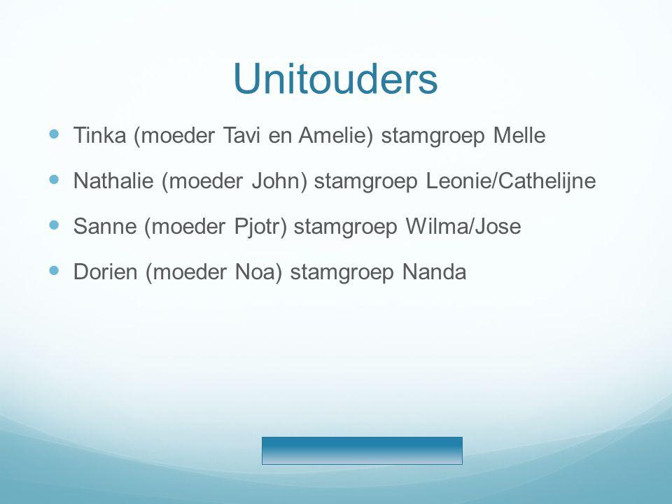 Unitouders  Tinka (moeder Tavi en Amelie) stamgroep Melle  Nathalie (moeder John) stamgroep Leonie/Cathelijne  Sanne (moeder Pjotr) stamgroep Wilma