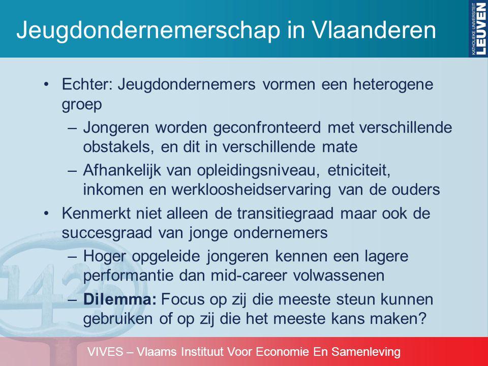 VIVES – Vlaams Instituut Voor Economie En Samenleving •Echter: Jeugdondernemers vormen een heterogene groep –Jongeren worden geconfronteerd met versch