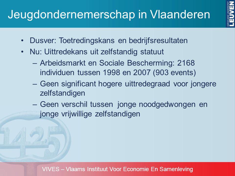 VIVES – Vlaams Instituut Voor Economie En Samenleving •Dusver: Toetredingskans en bedrijfsresultaten •Nu: Uittredekans uit zelfstandig statuut –Arbeid