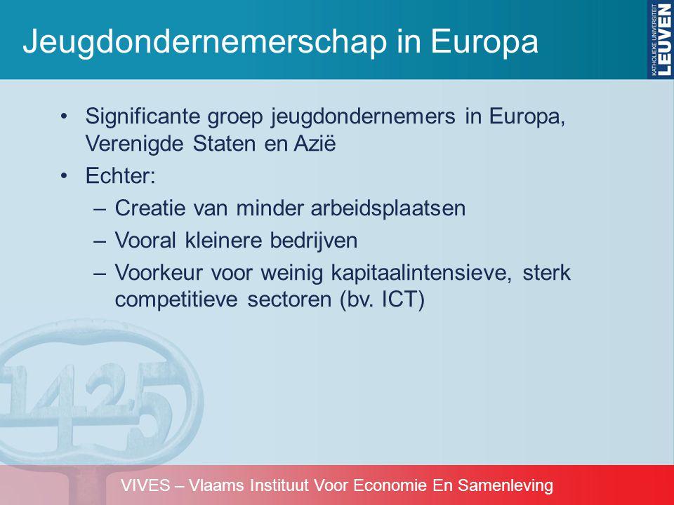 VIVES – Vlaams Instituut Voor Economie En Samenleving •Significante groep jeugdondernemers in Europa, Verenigde Staten en Azië •Echter: –Creatie van m