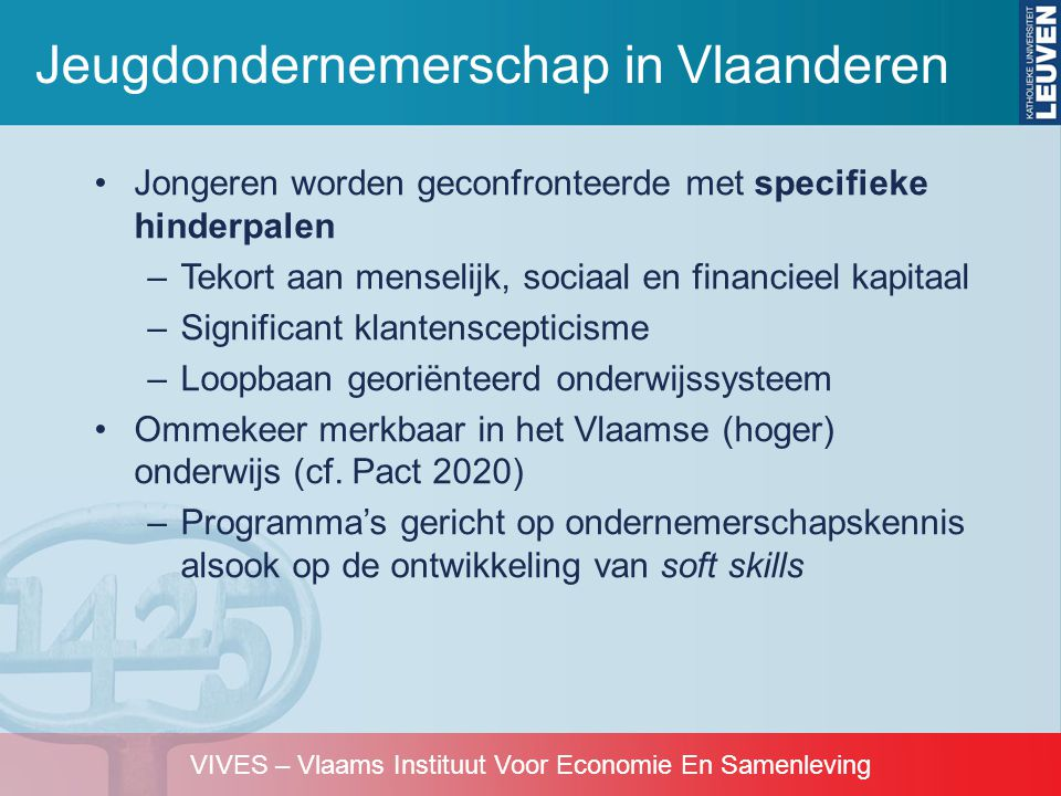 VIVES – Vlaams Instituut Voor Economie En Samenleving Jeugdondernemerschap in Vlaanderen Bron: Debrulle & Sels, 2008 PedagogieVaardigheden OnderwijsvormTheoriePraktijkActiefMotivatie Sociaal bewustzijn Inzicht falen Miniondernemingen 155555 Rollenspel 145444 Computersimulaties 145433 (Interactieve) Uiteenzettingen 513333 Casestudie 413333 Gastdocent 312323 Business plan 313211