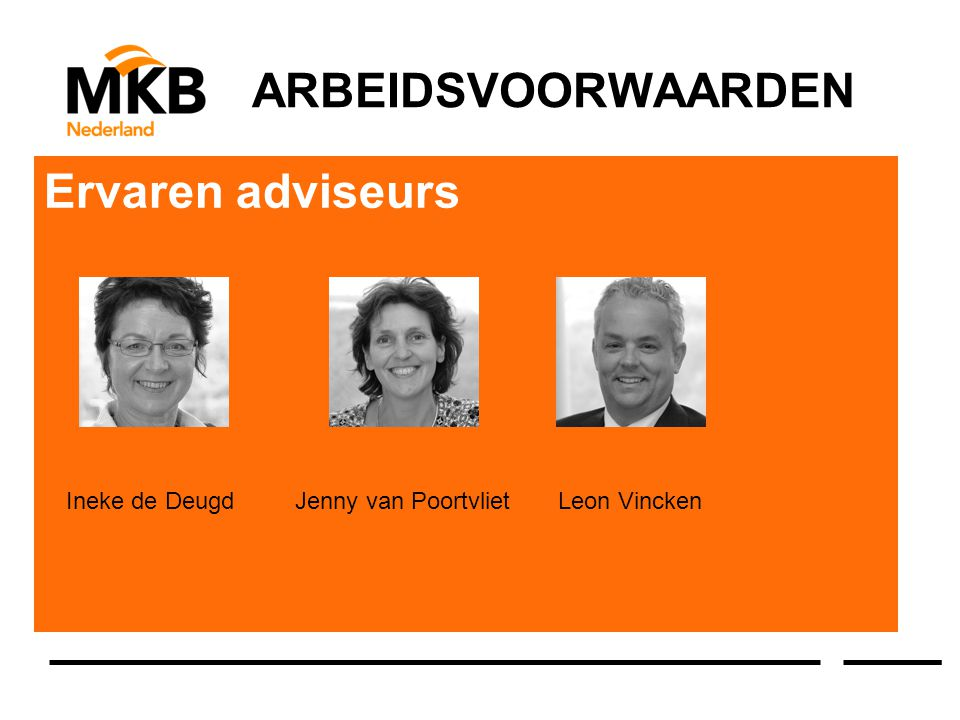 ARBEIDSVOORWAARDEN Ervaren adviseurs Ineke de Deugd Jenny van Poortvliet Leon Vincken