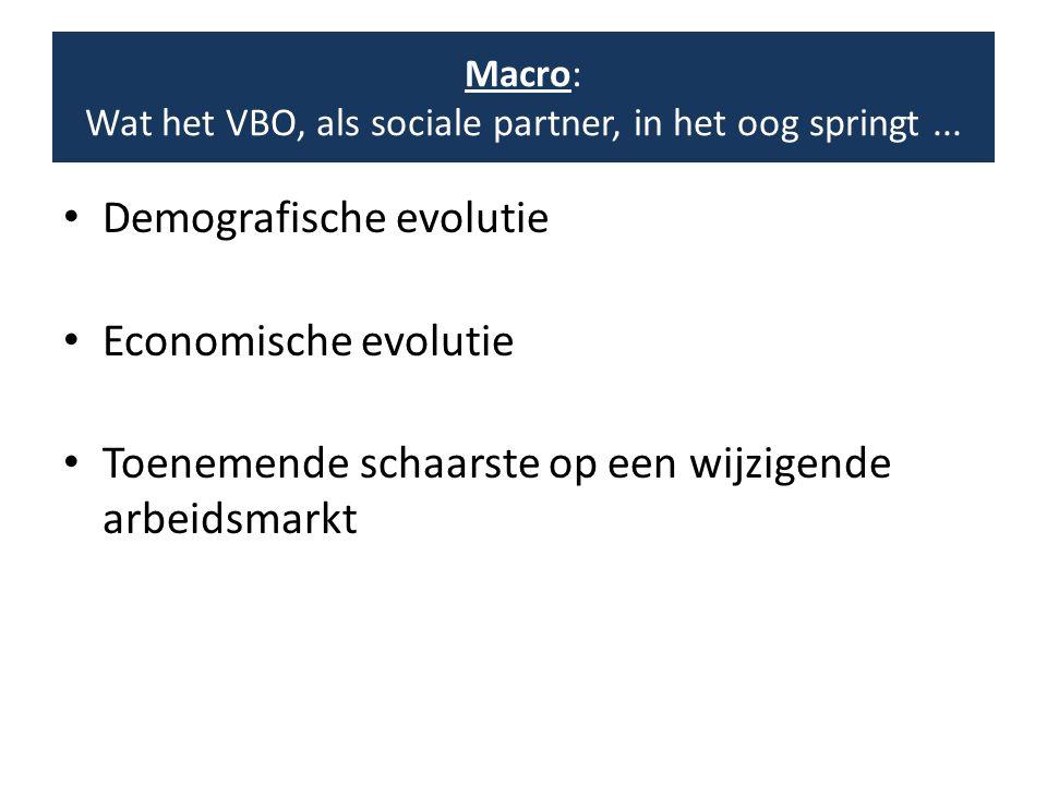 • Demografische evolutie • Economische evolutie • Toenemende schaarste op een wijzigende arbeidsmarkt Macro: Wat het VBO, als sociale partner, in het oog springt...