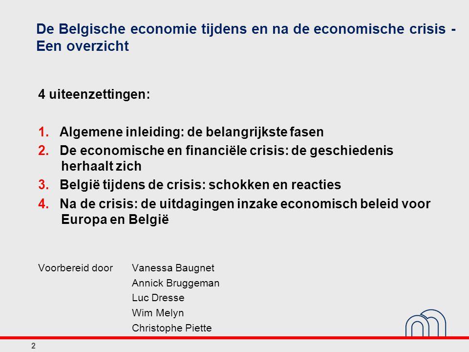 De Belgische economie tijdens en na de economische crisis - Een overzicht 4 uiteenzettingen: 1. Algemene inleiding: de belangrijkste fasen 2. De econo