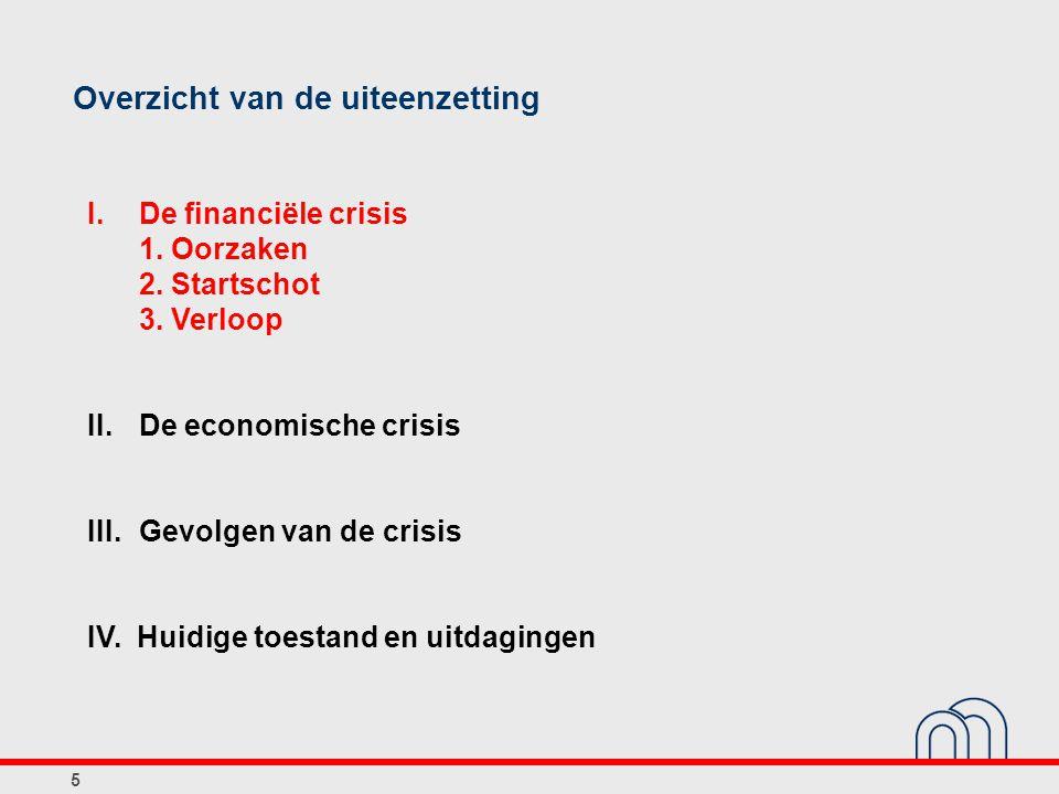 5 Overzicht van de uiteenzetting I. De financiële crisis 1. Oorzaken 2. Startschot 3. Verloop II.De economische crisis III.Gevolgen van de crisis IV.