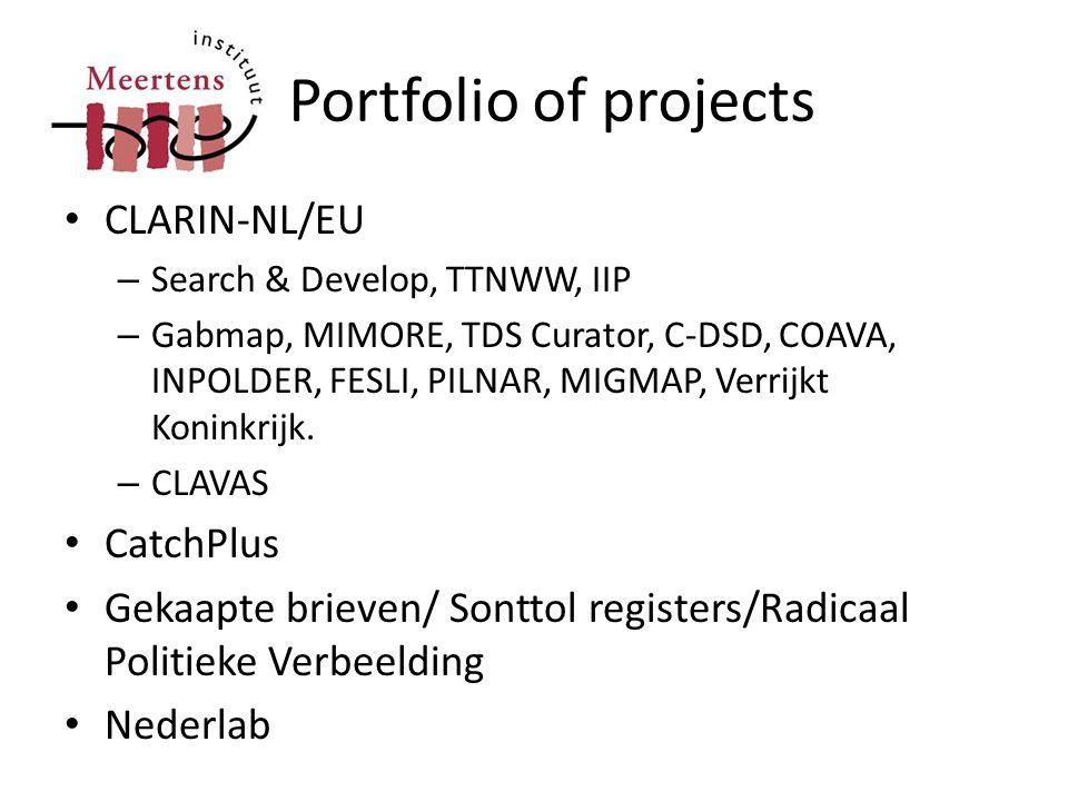 Portfolio of projects • CLARIN-NL/EU – Search & Develop, TTNWW, IIP – Gabmap, MIMORE, TDS Curator, C-DSD, COAVA, INPOLDER, FESLI, PILNAR, MIGMAP, Verr
