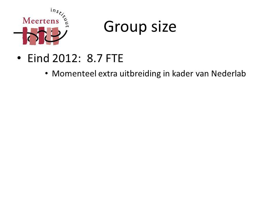 Group size • Eind 2012: 8.7 FTE • Momenteel extra uitbreiding in kader van Nederlab
