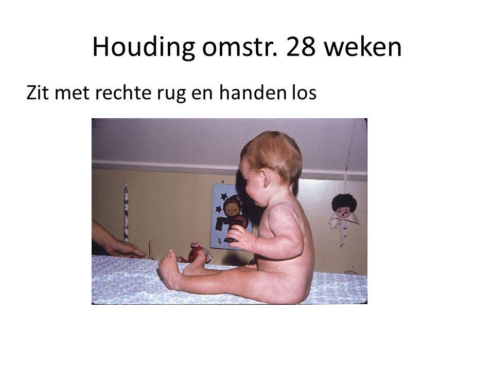 Houding omstr. 28 weken Zit met rechte rug en handen los
