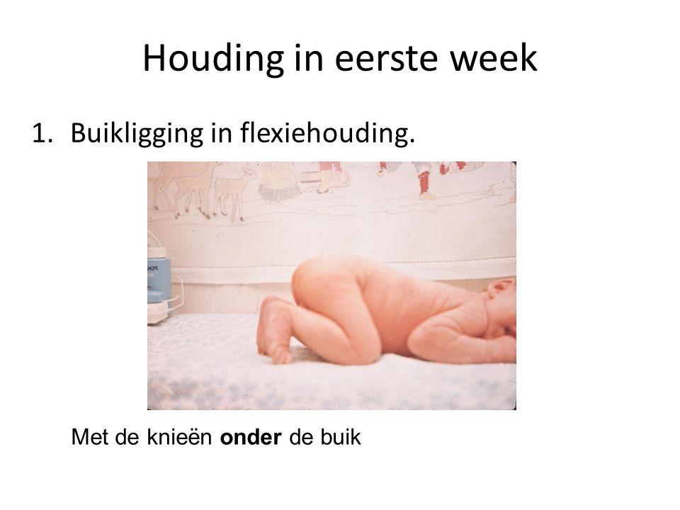 Houding in eerste week 1. Buikligging in flexiehouding. Met de knieën onder de buik
