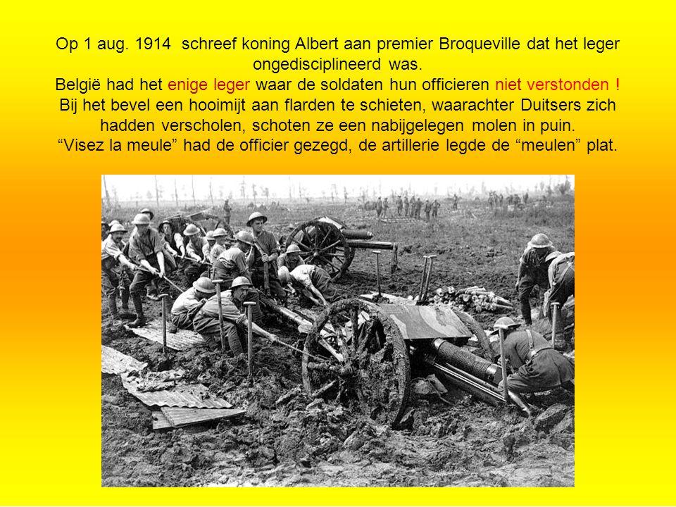 Op 1 aug.1914 schreef koning Albert aan premier Broqueville dat het leger ongedisciplineerd was.