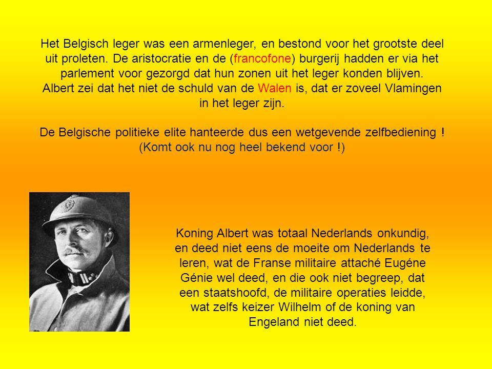 Koning Albert was totaal Nederlands onkundig, en deed niet eens de moeite om Nederlands te leren, wat de Franse militaire attaché Eugéne Génie wel deed, en die ook niet begreep, dat een staatshoofd, de militaire operaties leidde, wat zelfs keizer Wilhelm of de koning van Engeland niet deed.