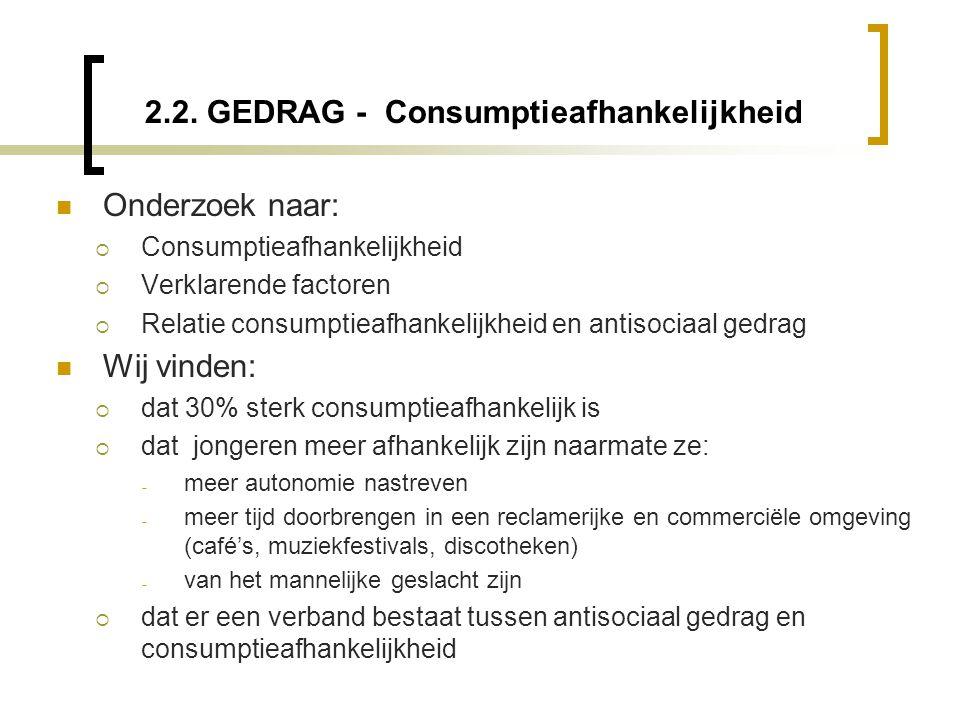 2.2. GEDRAG - Consumptieafhankelijkheid  Onderzoek naar:  Consumptieafhankelijkheid  Verklarende factoren  Relatie consumptieafhankelijkheid en an
