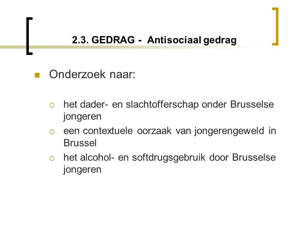 2.3. GEDRAG - Antisociaal gedrag  Onderzoek naar:  het dader- en slachtofferschap onder Brusselse jongeren  een contextuele oorzaak van jongerengew