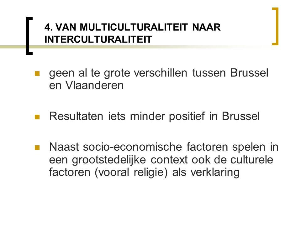 4. VAN MULTICULTURALITEIT NAAR INTERCULTURALITEIT  geen al te grote verschillen tussen Brussel en Vlaanderen  Resultaten iets minder positief in Bru