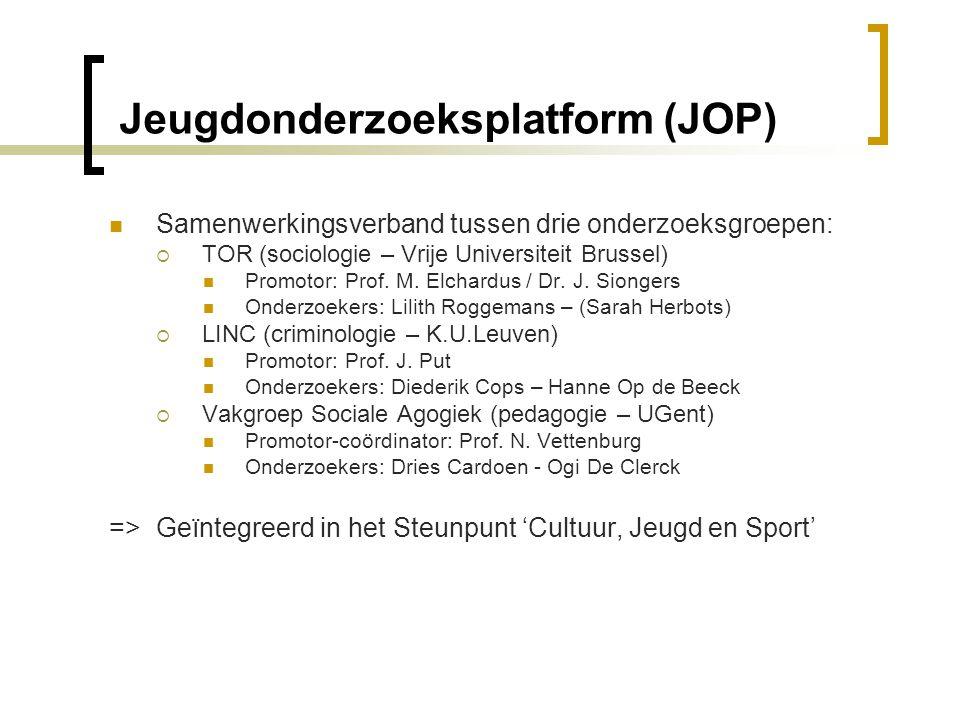 Jeugdonderzoeksplatform (JOP)  Samenwerkingsverband tussen drie onderzoeksgroepen:  TOR (sociologie – Vrije Universiteit Brussel)  Promotor: Prof.