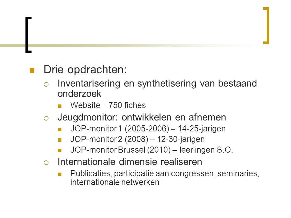  Drie opdrachten:  Inventarisering en synthetisering van bestaand onderzoek  Website – 750 fiches  Jeugdmonitor: ontwikkelen en afnemen  JOP-monitor 1 (2005-2006) – 14-25-jarigen  JOP-monitor 2 (2008) – 12-30-jarigen  JOP-monitor Brussel (2010) – leerlingen S.O.