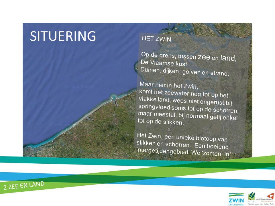HET ZWIN Op de grens, tussen zee en land, De Vlaamse kust. Duinen, dijken, golven en strand, Maar hier in het Zwin, komt het zeewater nog tot op het v