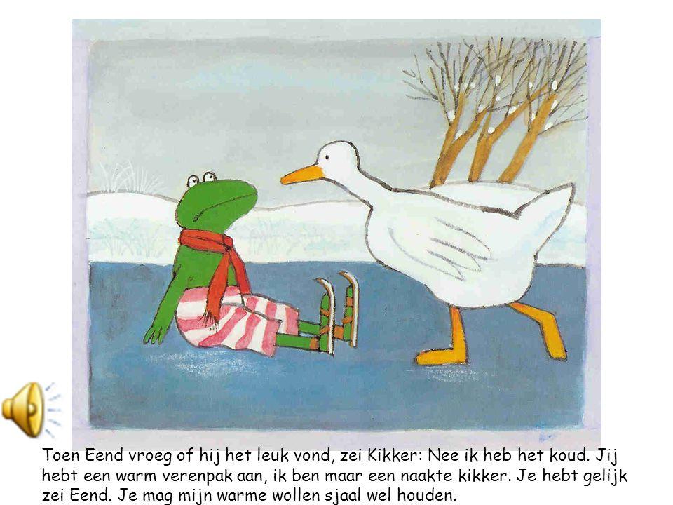 En ze bond Kikker haar schaatsen onder.Ze gaf hem een zetje en daar gleed Kikker over het ijs.