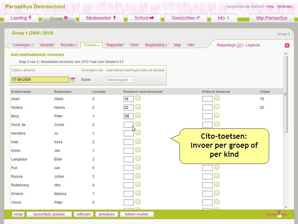 Cito-toetsen: Invoer per groep of per kind
