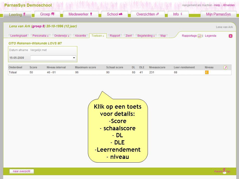 Klik op een toets voor details: -Score - schaalscore - DL - DLE -Leerrendement - niveau
