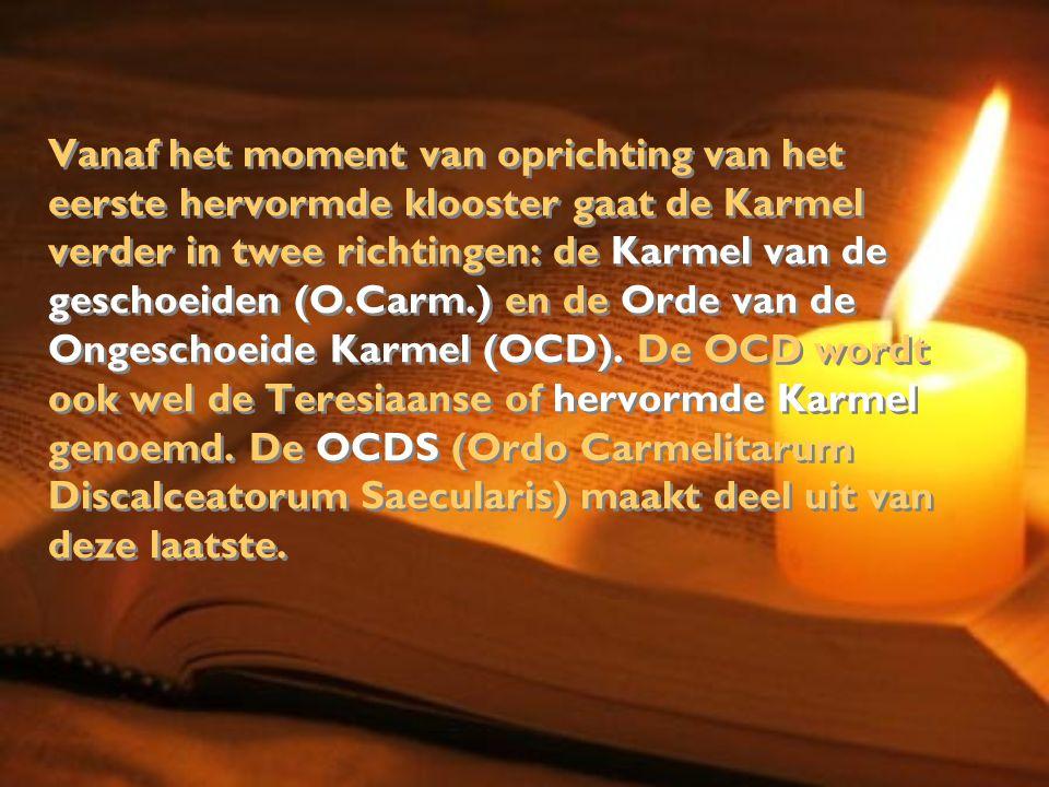 Vanaf het moment van oprichting van het eerste hervormde klooster gaat de Karmel verder in twee richtingen: de Karmel van de geschoeiden (O.Carm.) en