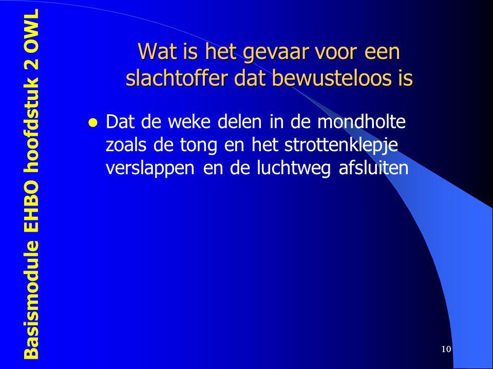 Basismodule EHBO hoofdstuk 2 OWL 10 Wat is het gevaar voor een slachtoffer dat bewusteloos is  Dat de weke delen in de mondholte zoals de tong en het
