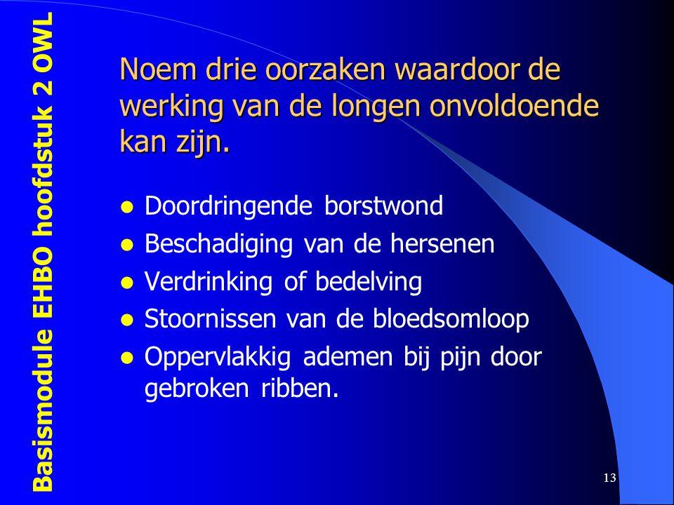 Basismodule EHBO hoofdstuk 2 OWL 13 Noem drie oorzaken waardoor de werking van de longen onvoldoende kan zijn.  Doordringende borstwond  Beschadigin