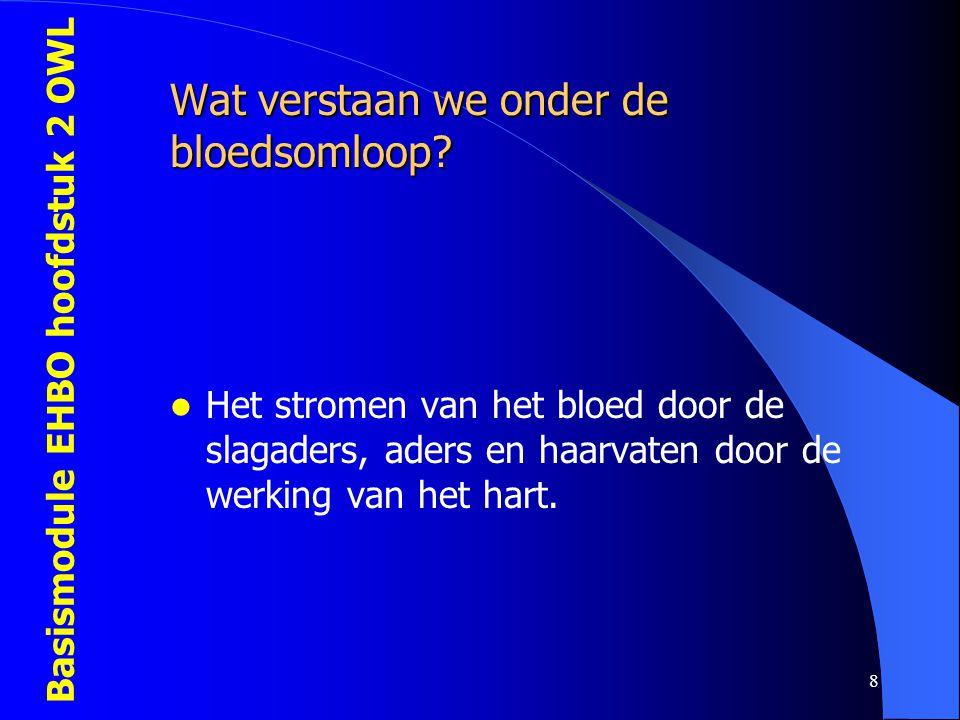 Basismodule EHBO hoofdstuk 2 OWL 8 Wat verstaan we onder de bloedsomloop?  Het stromen van het bloed door de slagaders, aders en haarvaten door de we
