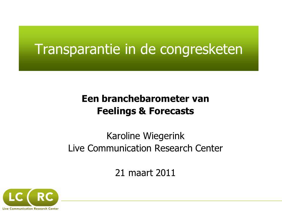 Transparantie in de congresketen Een branchebarometer van Feelings & Forecasts Karoline Wiegerink Live Communication Research Center 21 maart 2011