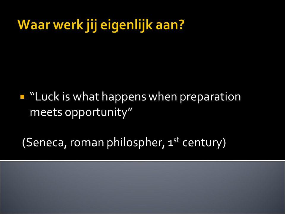 """Waar werk jij eigenlijk aan?  """"Luck is what happens when preparation meets opportunity"""" (Seneca, roman philospher, 1 st century)"""