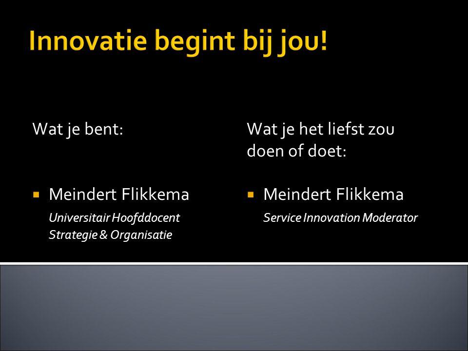 Innovatie begint bij jou! Wat je bent:  Meindert Flikkema Universitair Hoofddocent Strategie & Organisatie Wat je het liefst zou doen of doet:  Mein