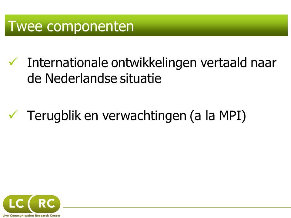 Twee componenten  Internationale ontwikkelingen vertaald naar de Nederlandse situatie  Terugblik en verwachtingen (a la MPI)