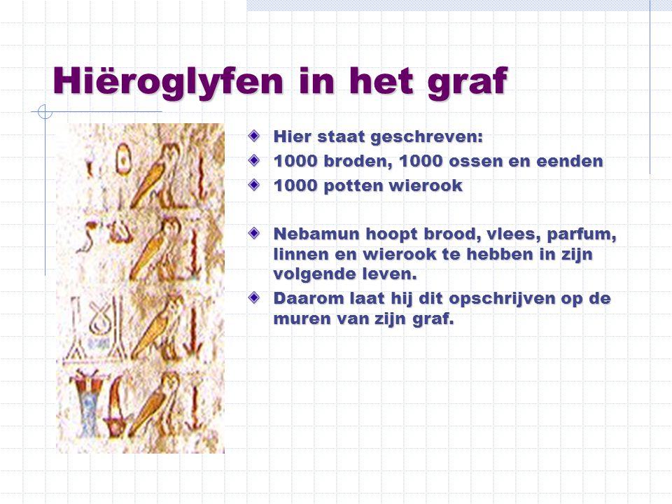 Hiëroglyfen in het graf Hier staat geschreven: 1000 broden, 1000 ossen en eenden 1000 potten wierook Nebamun hoopt brood, vlees, parfum, linnen en wie