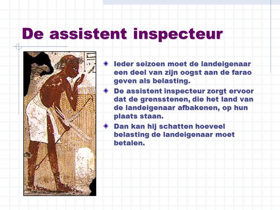 De assistent inspecteur Ieder seizoen moet de landeigenaar een deel van zijn oogst aan de farao geven als belasting. De assistent inspecteur zorgt erv