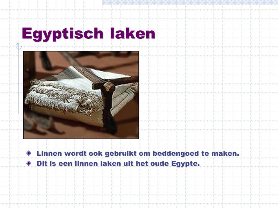 Egyptisch laken Linnen wordt ook gebruikt om beddengoed te maken. Dit is een linnen laken uit het oude Egypte.