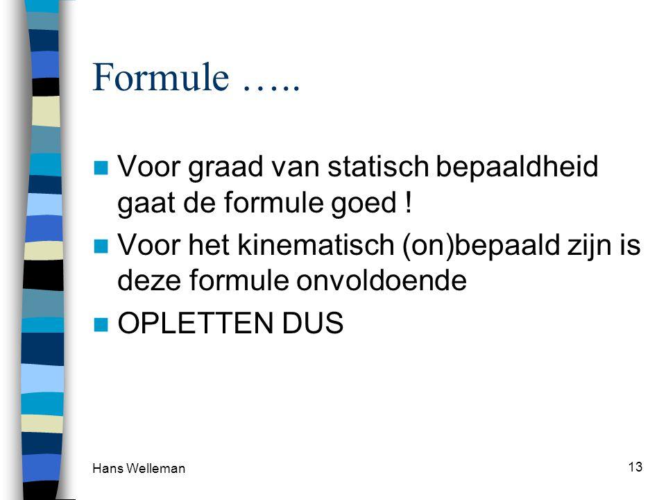 Hans Welleman 13 Formule ….. Voor graad van statisch bepaaldheid gaat de formule goed .