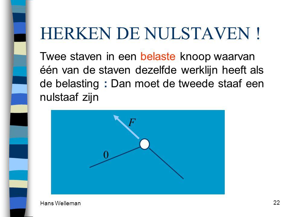 Hans Welleman 22 Twee staven in een onbelaste knoop zijn allebei nulstaven HERKEN DE NULSTAVEN .