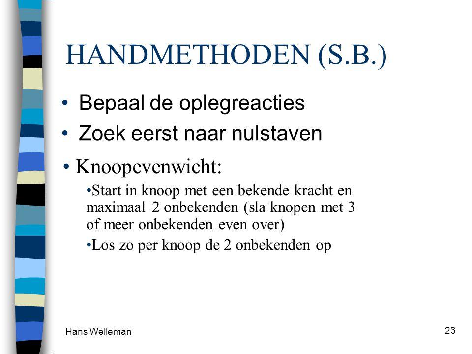 Hans Welleman 23 • Snedemethode: Zoek een handige snede en stel het momentenevenwicht op om een gekozen punt zodanig dat er maar één onbekende kracht in de e.v.