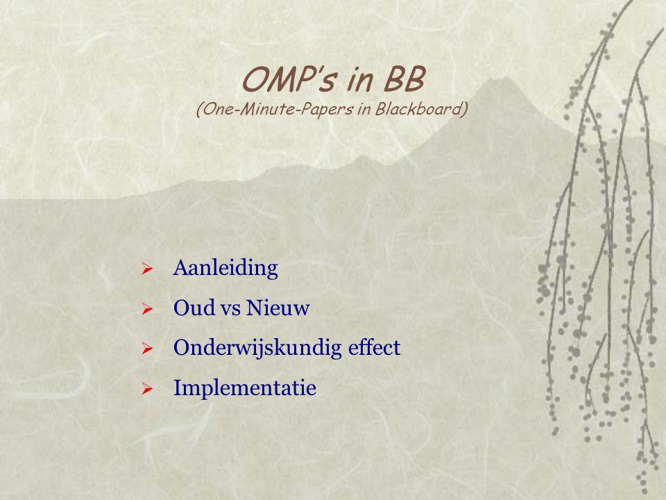 OMP's in BB (One-Minute-Papers in Blackboard)  Aanleiding  Oud vs Nieuw  Onderwijskundig effect  Implementatie