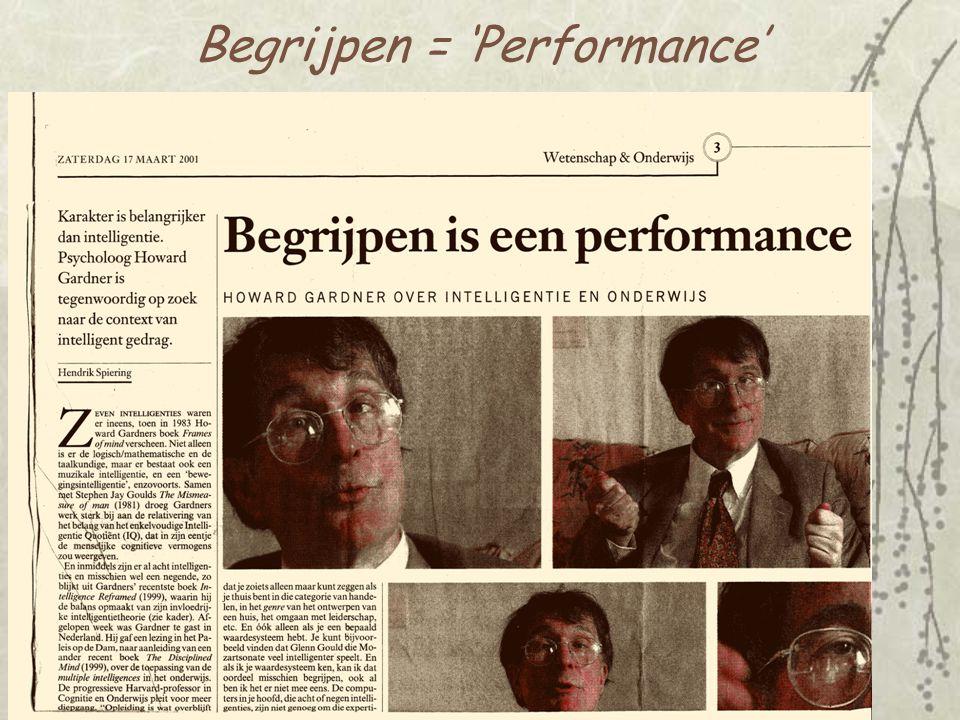 Begrijpen = 'Performance'