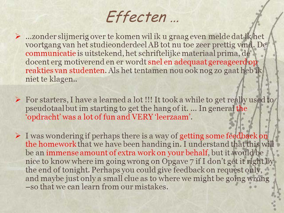 Effecten …  …zonder slijmerig over te komen wil ik u graag even melde dat ik het voortgang van het studieonderdeel AB tot nu toe zeer prettig vind.