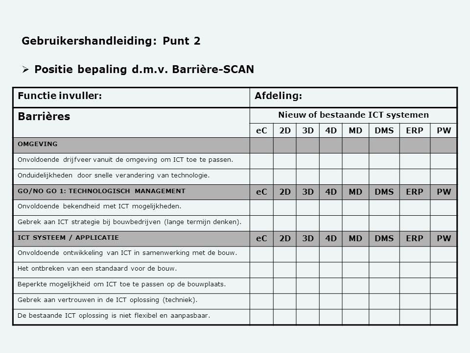  Positie bepaling d.m.v. Barrière-SCAN Gebruikershandleiding: Punt 2 Functie invuller:Afdeling: Barrières Nieuw of bestaande ICT systemen eC2D3D4DMDD