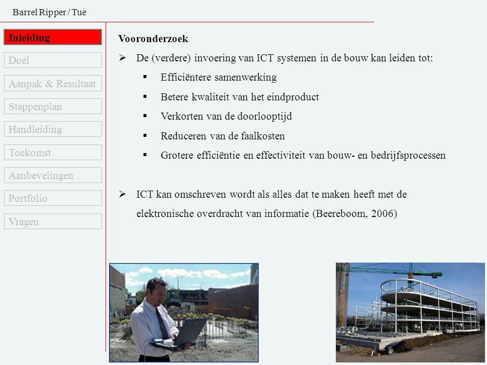 Barrel Ripper / Tue Inleiding Vooronderzoek  De (verdere) invoering van ICT systemen in de bouw kan leiden tot:  Efficiëntere samenwerking  Betere